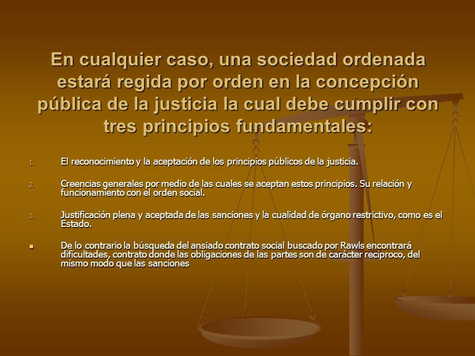 En cualquier caso, una sociedad ordenada estará regida por orden en la concepción pública de la justicia la cual debe cumplir con tres principios fund
