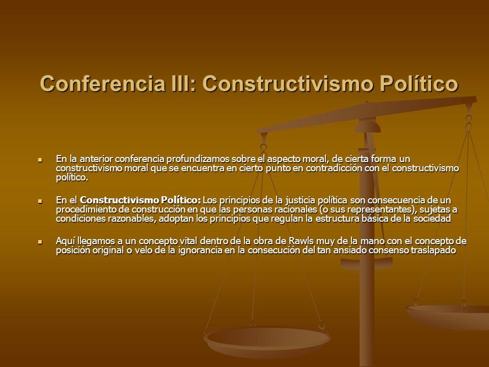Conferencia III: Constructivismo Político En la anterior conferencia profundizamos sobre el aspecto moral, de cierta forma un constructivismo moral qu