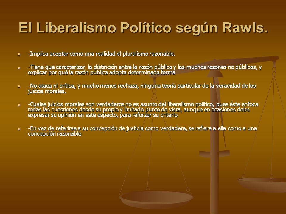 El Liberalismo Político según Rawls. -Implica aceptar como una realidad el pluralismo razonable. -Implica aceptar como una realidad el pluralismo razo