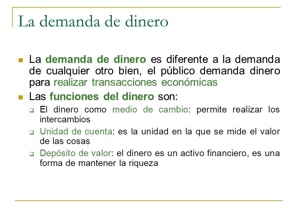 La demanda de dinero La demanda de dinero es diferente a la demanda de cualquier otro bien, el público demanda dinero para realizar transacciones econ