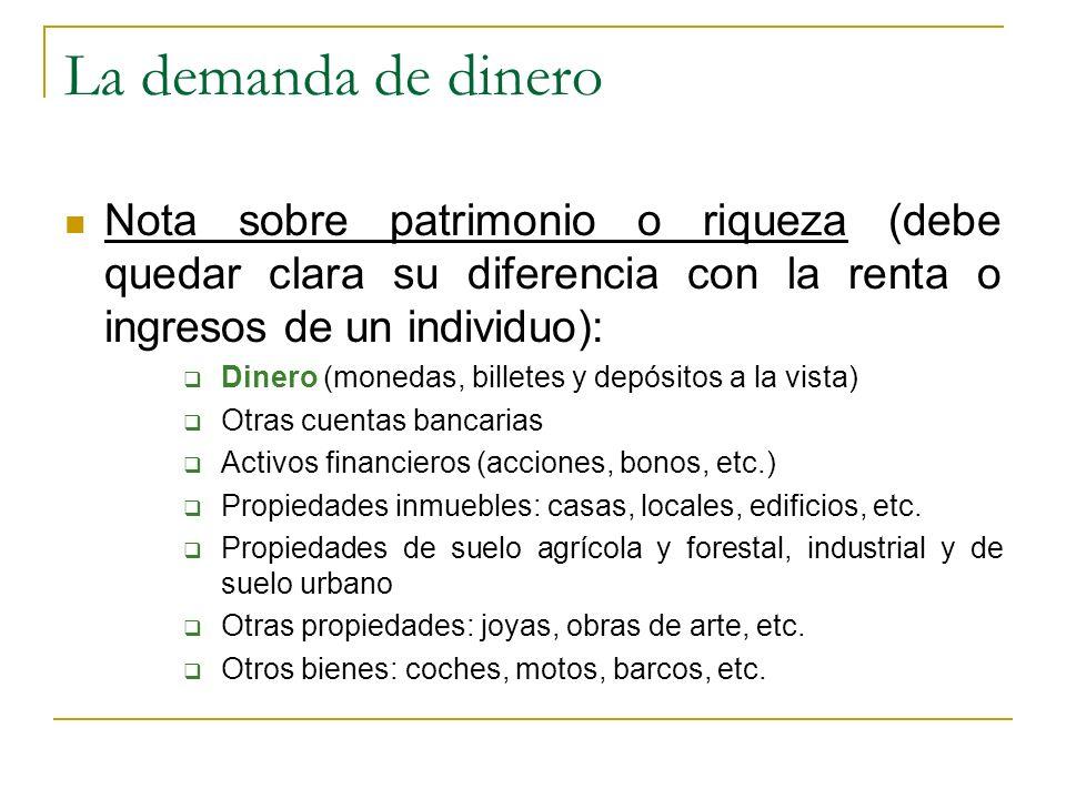 La demanda de dinero Nota sobre patrimonio o riqueza (debe quedar clara su diferencia con la renta o ingresos de un individuo): Dinero (monedas, bille