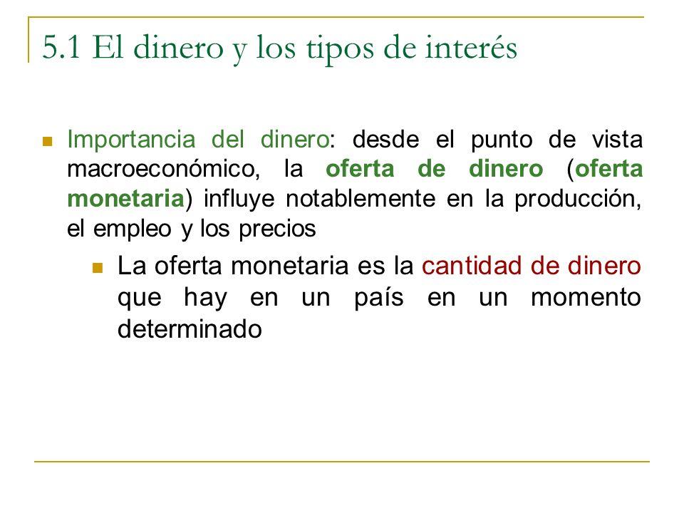 5.1 El dinero y los tipos de interés Importancia del dinero: desde el punto de vista macroeconómico, la oferta de dinero (oferta monetaria) influye no