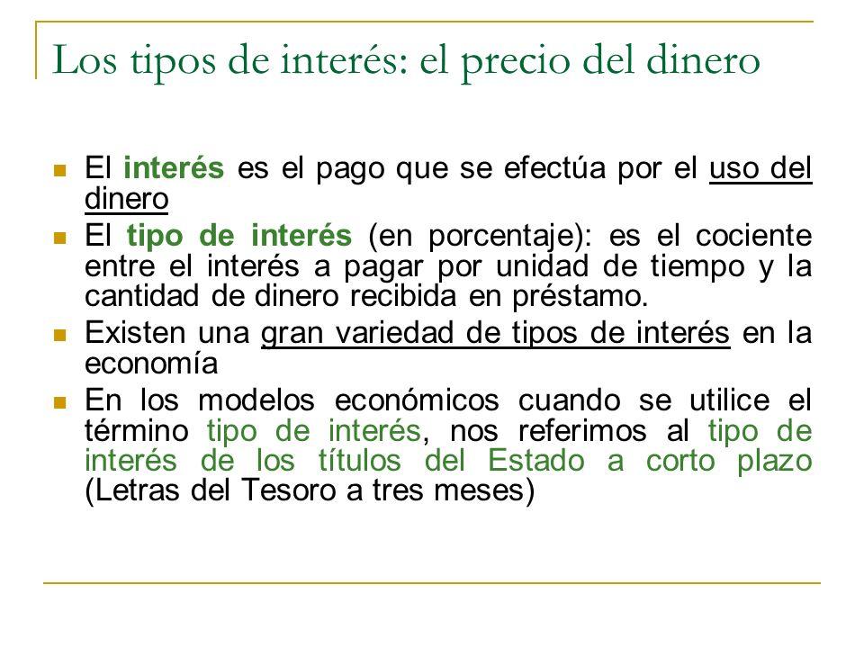 Los tipos de interés: el precio del dinero El interés es el pago que se efectúa por el uso del dinero El tipo de interés (en porcentaje): es el cocien