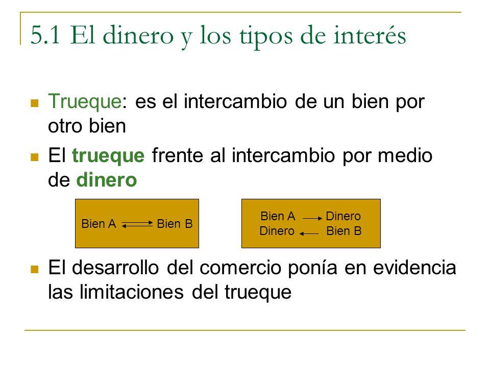 5.1 El dinero y los tipos de interés Definición de dinero: es todo aquello que constituye un medio de cambio o pago comúnmente aceptado