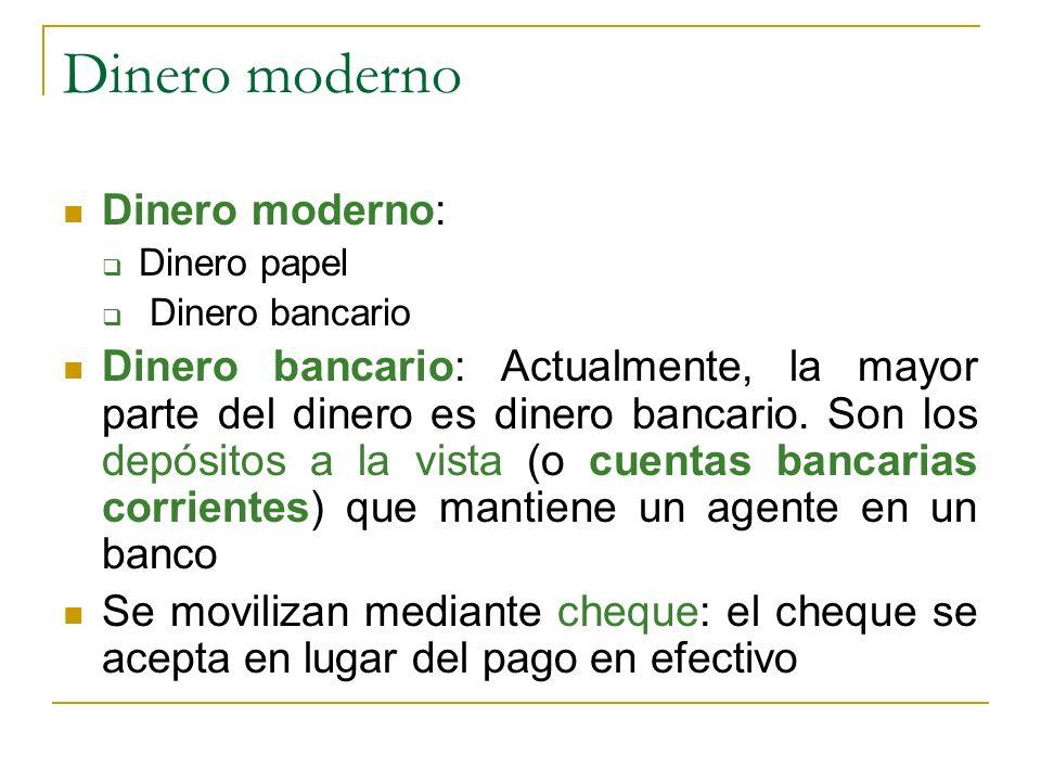 Dinero moderno Dinero moderno: Dinero papel Dinero bancario Dinero bancario: Actualmente, la mayor parte del dinero es dinero bancario. Son los depósi