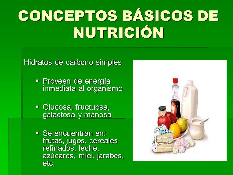 CONCEPTOS BÁSICOS DE NUTRICIÓN Hidratos de carbono simples Proveen de energía inmediata al organismo Proveen de energía inmediata al organismo Glucosa