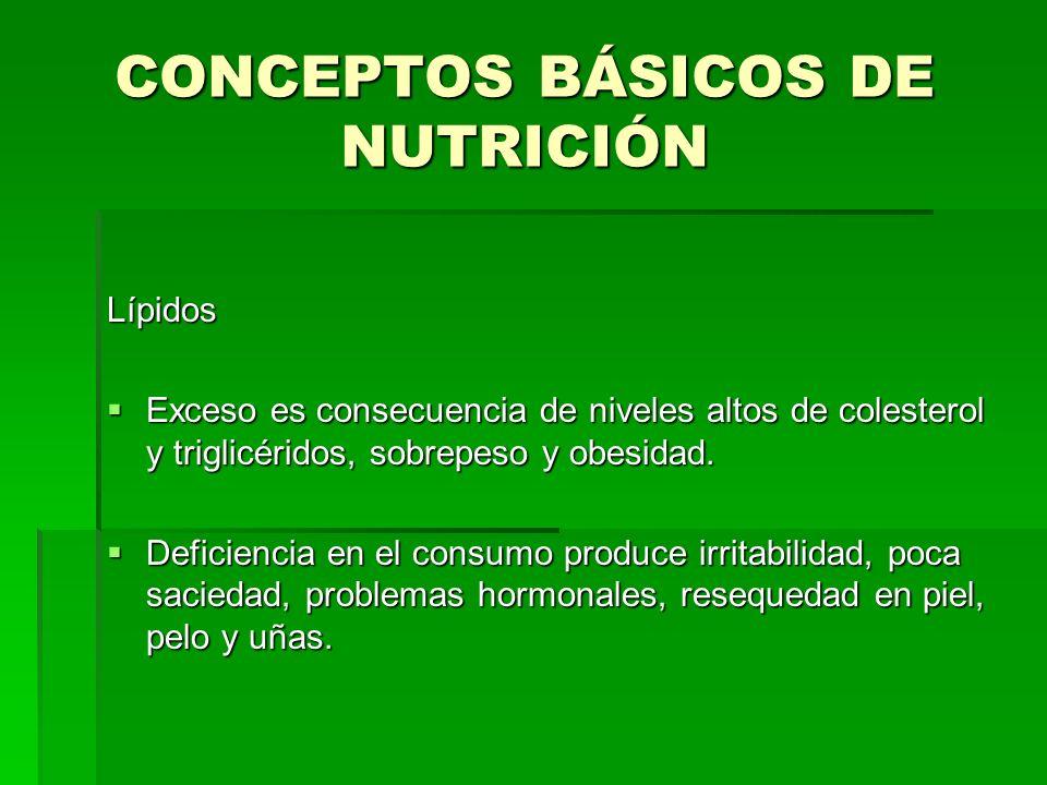 CONCEPTOS BÁSICOS DE NUTRICIÓN Lípidos Exceso es consecuencia de niveles altos de colesterol y triglicéridos, sobrepeso y obesidad. Exceso es consecue