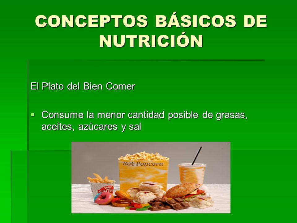 CONCEPTOS BÁSICOS DE NUTRICIÓN El Plato del Bien Comer Consume la menor cantidad posible de grasas, aceites, azúcares y sal Consume la menor cantidad