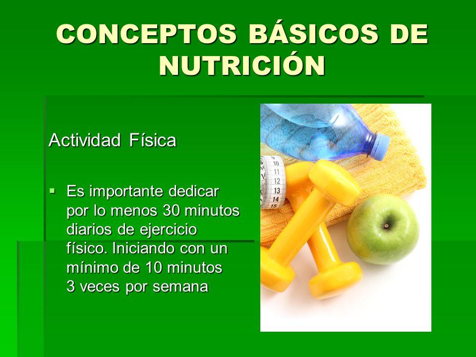 CONCEPTOS BÁSICOS DE NUTRICIÓN Actividad Física Es importante dedicar por lo menos 30 minutos diarios de ejercicio físico. Iniciando con un mínimo de