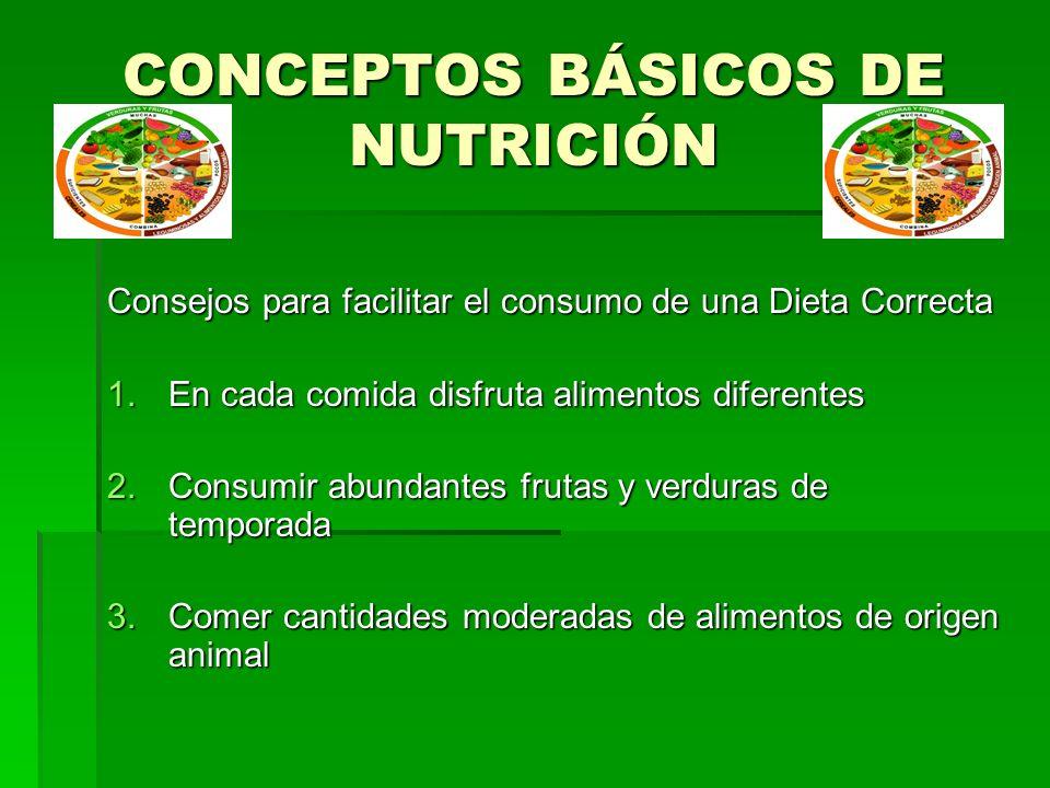 CONCEPTOS BÁSICOS DE NUTRICIÓN Consejos para facilitar el consumo de una Dieta Correcta 1.En cada comida disfruta alimentos diferentes 2.Consumir abun
