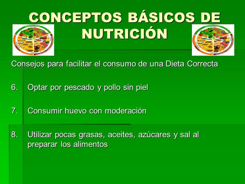 CONCEPTOS BÁSICOS DE NUTRICIÓN Consejos para facilitar el consumo de una Dieta Correcta 6.Optar por pescado y pollo sin piel 7.Consumir huevo con mode