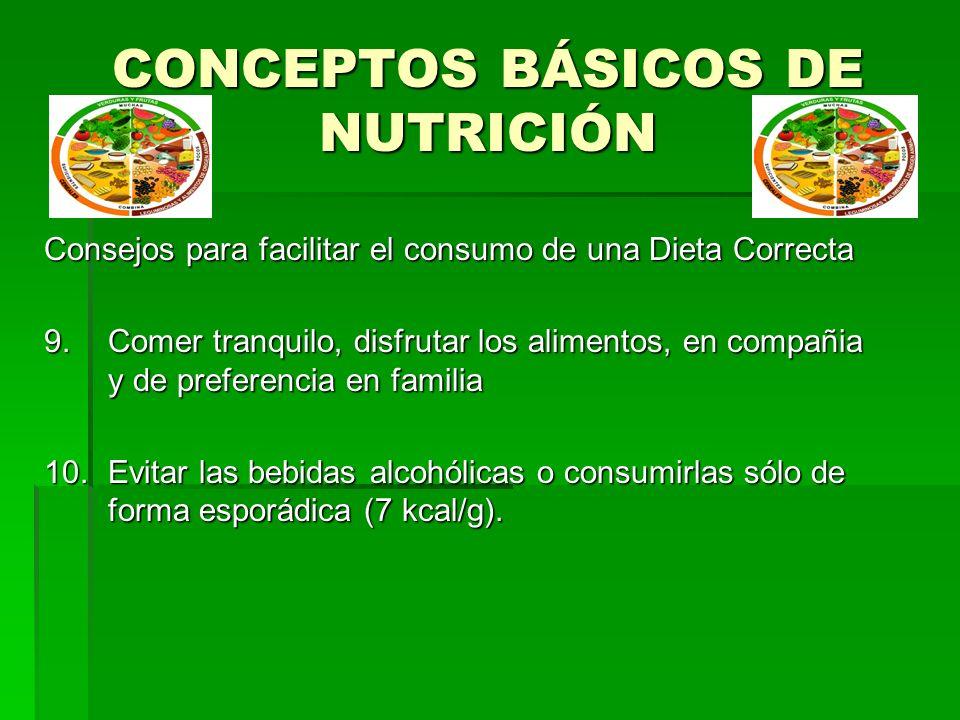 CONCEPTOS BÁSICOS DE NUTRICIÓN Consejos para facilitar el consumo de una Dieta Correcta 9.Comer tranquilo, disfrutar los alimentos, en compañia y de p