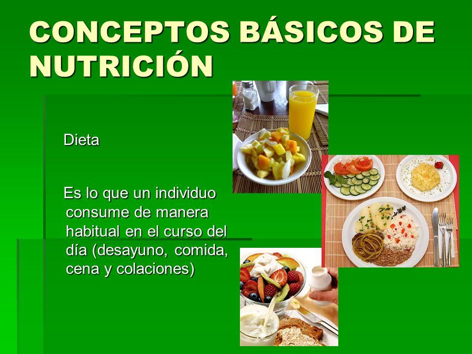 CONCEPTOS BÁSICOS DE NUTRICIÓN Dieta Dieta Es lo que un individuo consume de manera habitual en el curso del día (desayuno, comida, cena y colaciones)