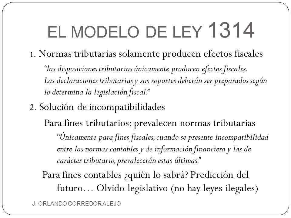 EL MODELO DE LEY 1314 J. ORLANDO CORREDOR ALEJO 1. Normas tributarias solamente producen efectos fiscales las disposiciones tributarias únicamente pro