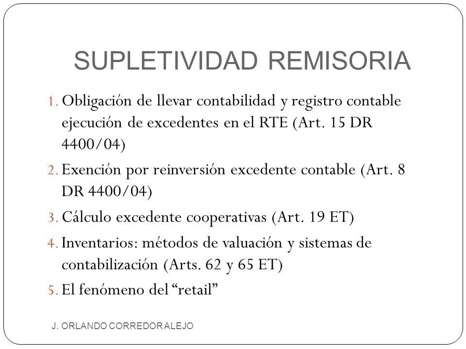 SUPLETIVIDAD REMISORIA J. ORLANDO CORREDOR ALEJO 1. Obligación de llevar contabilidad y registro contable ejecución de excedentes en el RTE (Art. 15 D