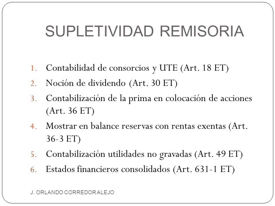 SUPLETIVIDAD REMISORIA J. ORLANDO CORREDOR ALEJO 1. Contabilidad de consorcios y UTE (Art. 18 ET) 2. Noción de dividendo (Art. 30 ET) 3. Contabilizaci