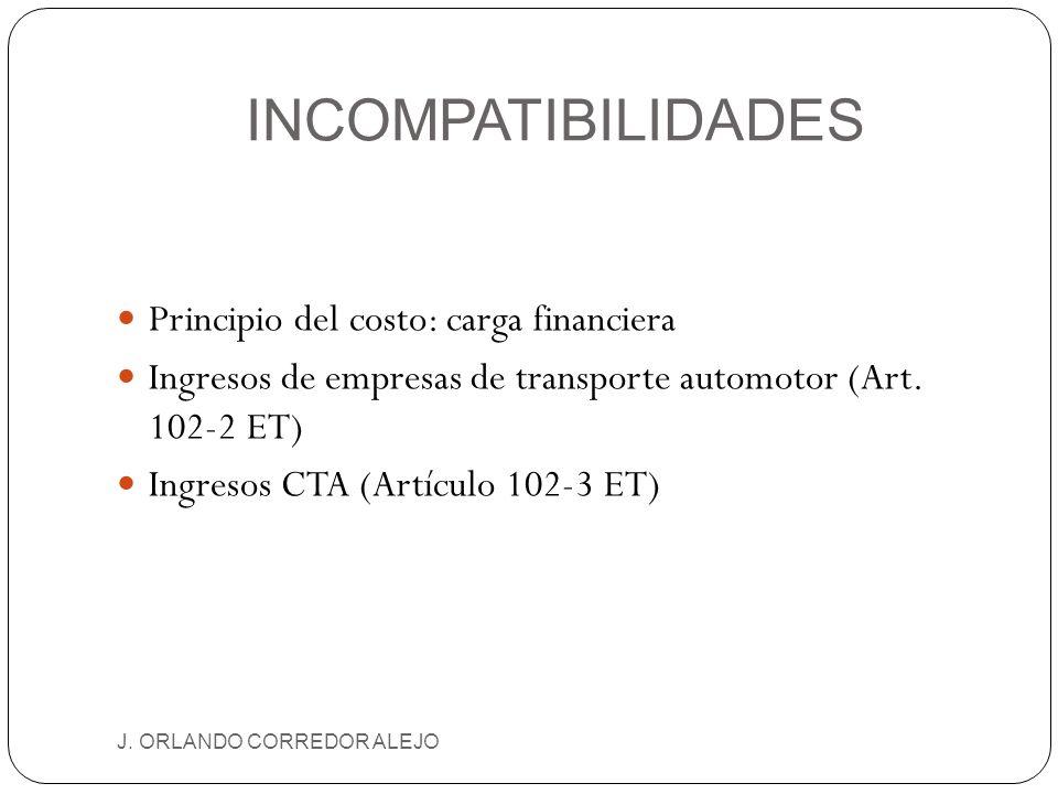 INCOMPATIBILIDADES J. ORLANDO CORREDOR ALEJO Principio del costo: carga financiera Ingresos de empresas de transporte automotor (Art. 102-2 ET) Ingres