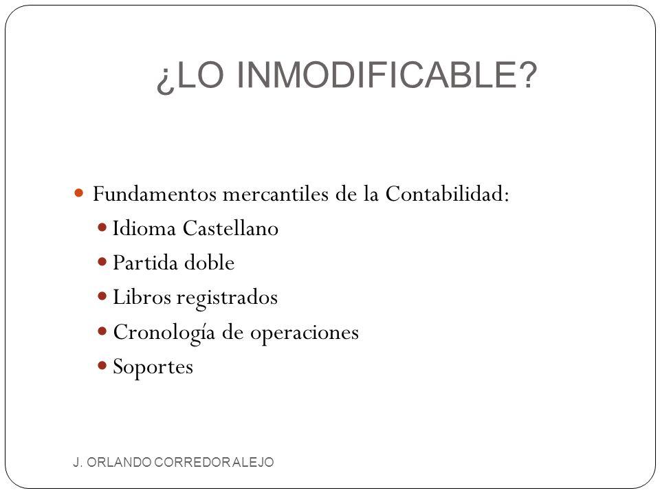 ¿LO INMODIFICABLE? J. ORLANDO CORREDOR ALEJO Fundamentos mercantiles de la Contabilidad: Idioma Castellano Partida doble Libros registrados Cronología