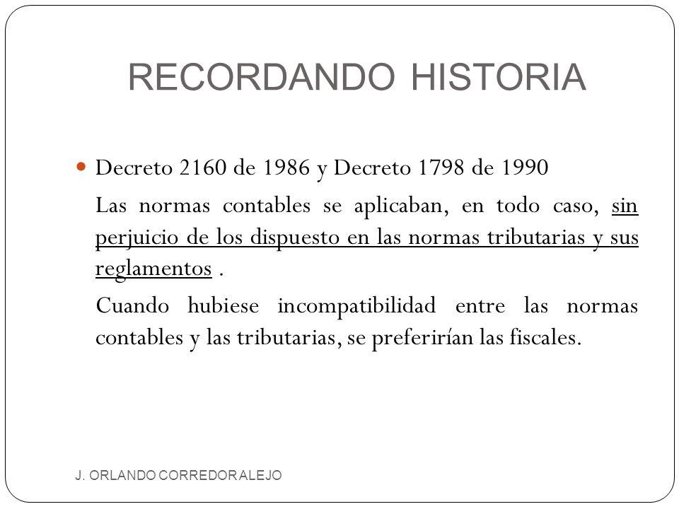 RECORDANDO HISTORIA J. ORLANDO CORREDOR ALEJO Decreto 2160 de 1986 y Decreto 1798 de 1990 Las normas contables se aplicaban, en todo caso, sin perjuic