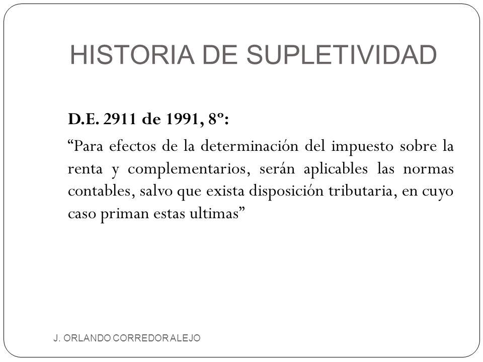 HISTORIA DE SUPLETIVIDAD J. ORLANDO CORREDOR ALEJO D.E. 2911 de 1991, 8º: Para efectos de la determinación del impuesto sobre la renta y complementari