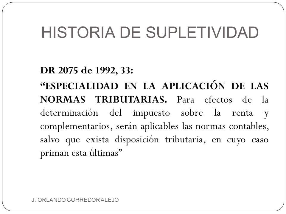HISTORIA DE SUPLETIVIDAD J. ORLANDO CORREDOR ALEJO DR 2075 de 1992, 33: ESPECIALIDAD EN LA APLICACIÓN DE LAS NORMAS TRIBUTARIAS. Para efectos de la de