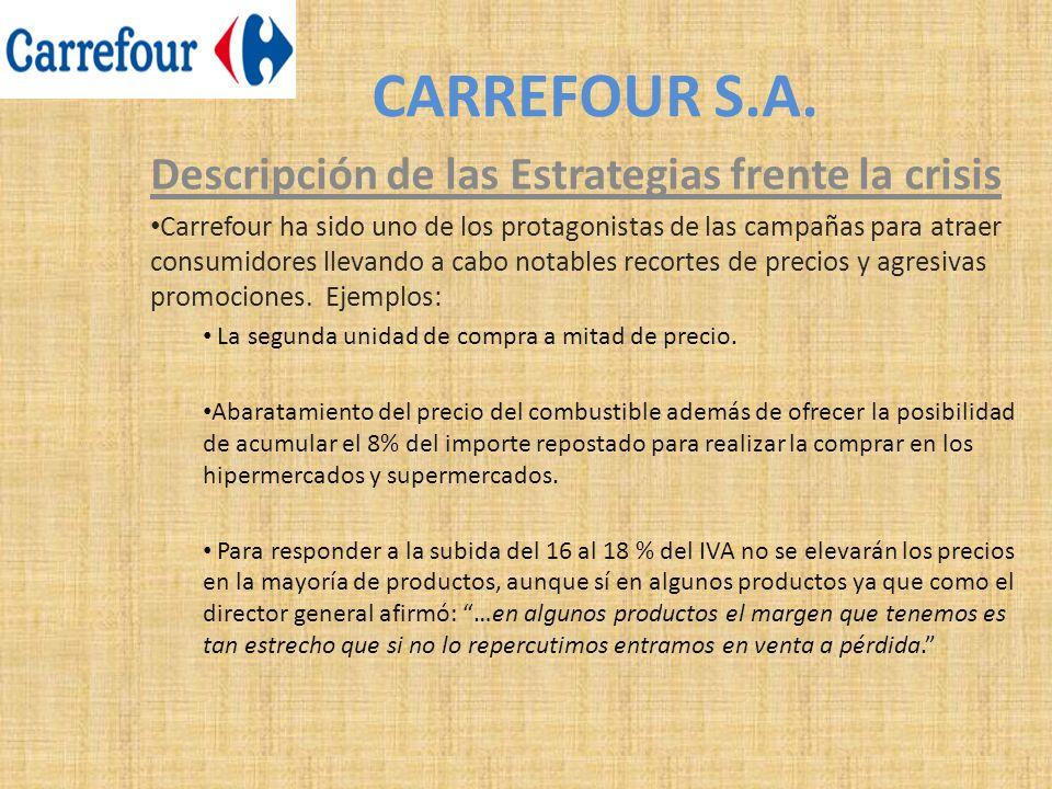 CARREFOUR S.A. Descripción de las Estrategias frente la crisis Carrefour ha sido uno de los protagonistas de las campañas para atraer consumidores lle