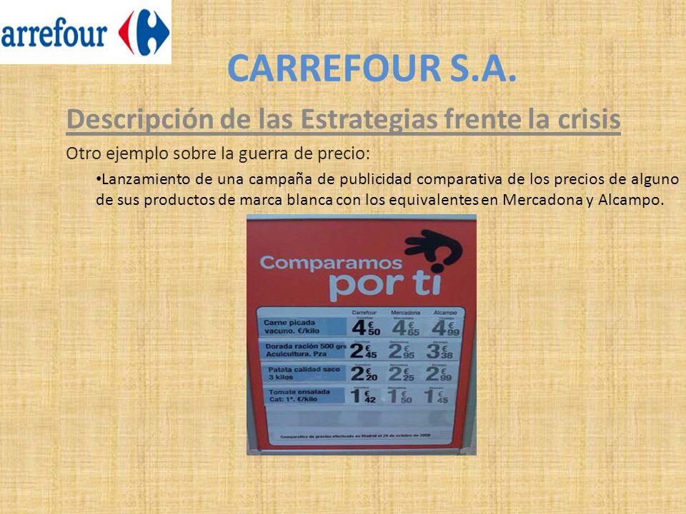 CARREFOUR S.A. Descripción de las Estrategias frente la crisis Otro ejemplo sobre la guerra de precio: Lanzamiento de una campaña de publicidad compar