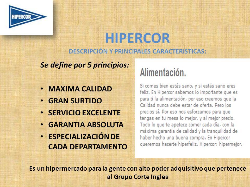 HIPERCOR DESCRIPCIÓN Y PRINCIPALES CARACTERISTICAS: Se define por 5 principios: MAXIMA CALIDAD GRAN SURTIDO SERVICIO EXCELENTE GARANTIA ABSOLUTA ESPECIALIZACIÓN DE CADA DEPARTAMENTO Es un hipermercado para la gente con alto poder adquisitivo que pertenece al Grupo Corte Ingles