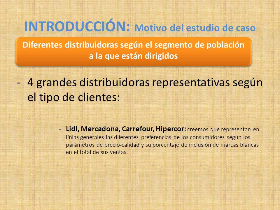 -4 grandes distribuidoras representativas según el tipo de clientes: -Lidl, Mercadona, Carrefour, Hipercor: creemos que representan en línias generales las diferentes preferencias de los consumidores según los parámetros de precio-calidad y su porcentaje de inclusión de marcas blancas en el total de sus ventas.