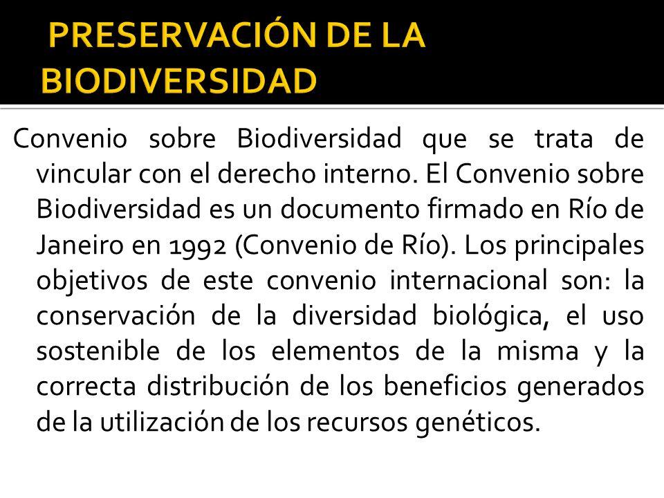 Convenio sobre Biodiversidad que se trata de vincular con el derecho interno. El Convenio sobre Biodiversidad es un documento firmado en Río de Janeir