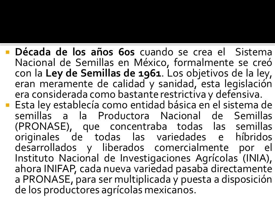 Década de los años 60s cuando se crea el Sistema Nacional de Semillas en México, formalmente se creó con la Ley de Semillas de 1961. Los objetivos de