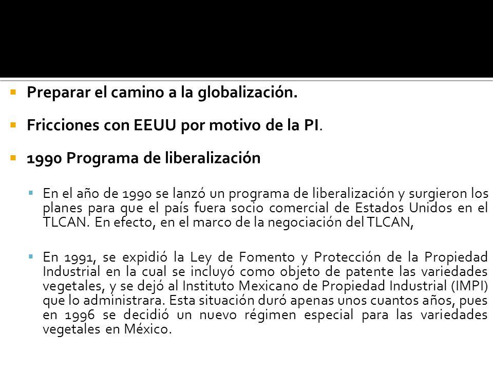Preparar el camino a la globalización. Fricciones con EEUU por motivo de la PI. 1990 Programa de liberalización En el año de 1990 se lanzó un programa