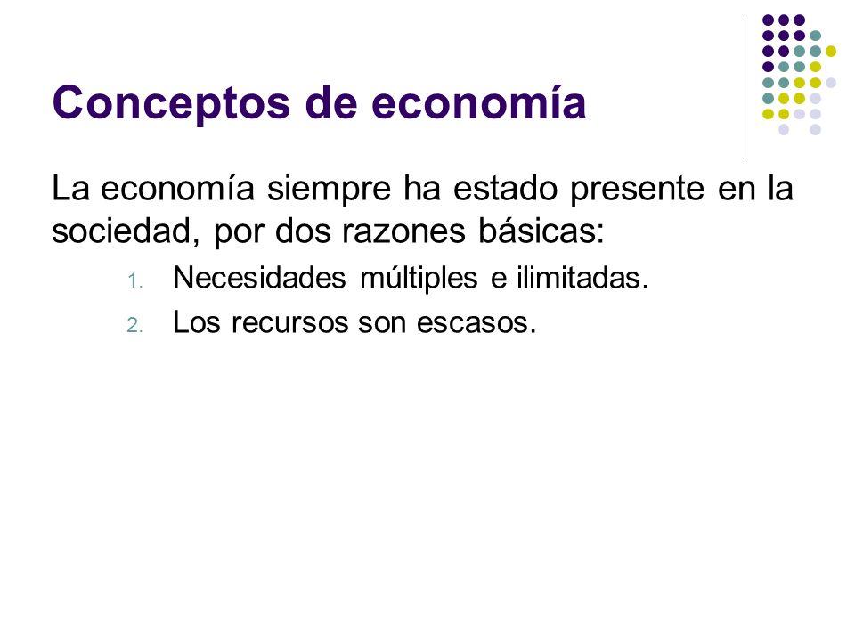 Conceptos de economía La economía siempre ha estado presente en la sociedad, por dos razones básicas: 1.