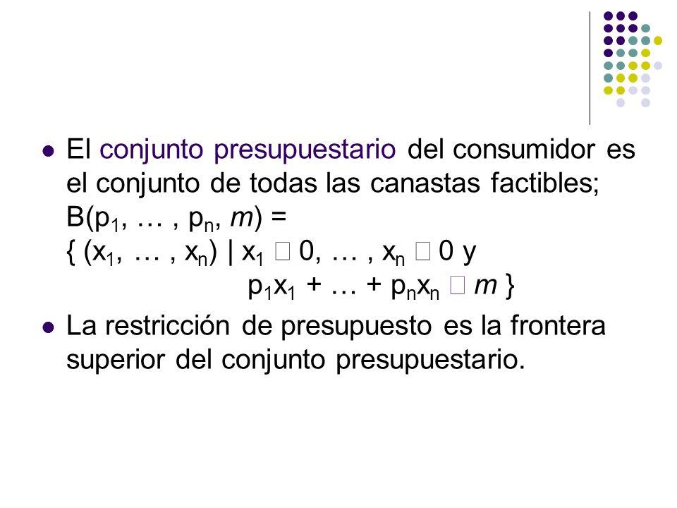 El conjunto presupuestario del consumidor es el conjunto de todas las canastas factibles; B(p 1, …, p n, m) = { (x 1, …, x n ) | x 1 0, …, x n 0 y p 1 x 1 + … + p n x n m } La restricción de presupuesto es la frontera superior del conjunto presupuestario.