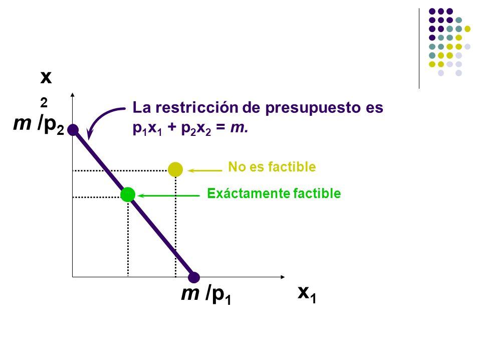 x2x2 x1x1 m /p 1 No es factible m /p 2 La restricción de presupuesto es p 1 x 1 + p 2 x 2 = m.