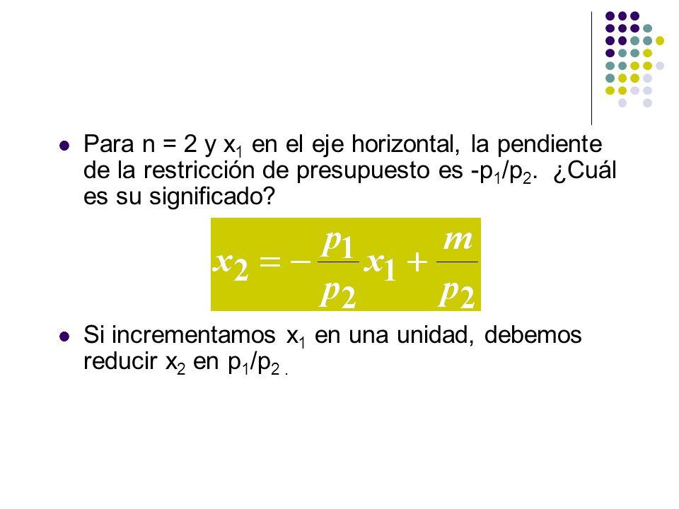 Para n = 2 y x 1 en el eje horizontal, la pendiente de la restricción de presupuesto es -p 1 /p 2.