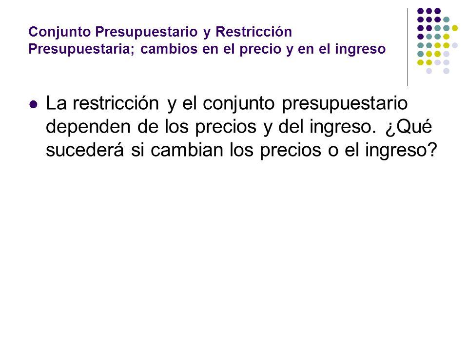 Conjunto Presupuestario y Restricción Presupuestaria; cambios en el precio y en el ingreso La restricción y el conjunto presupuestario dependen de los precios y del ingreso.