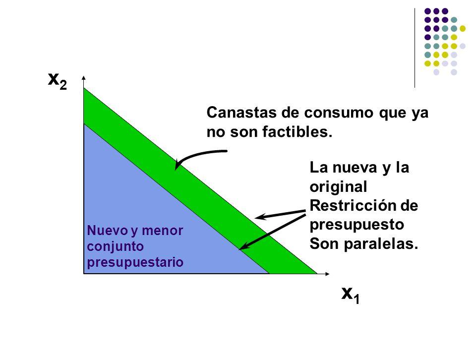 x2x2 x1x1 Nuevo y menor conjunto presupuestario Canastas de consumo que ya no son factibles.