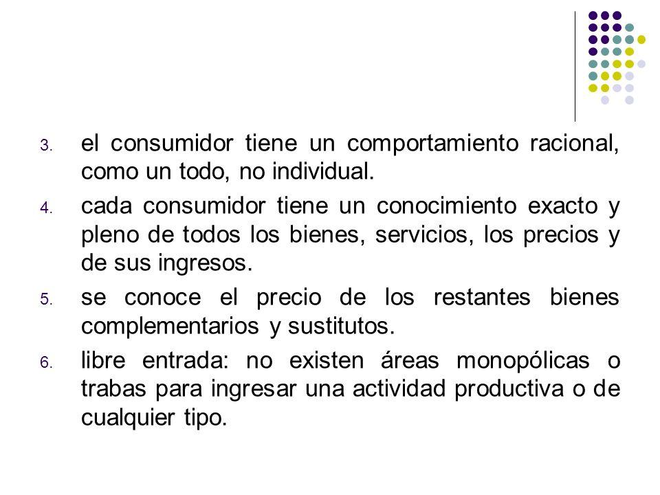 3. el consumidor tiene un comportamiento racional, como un todo, no individual.