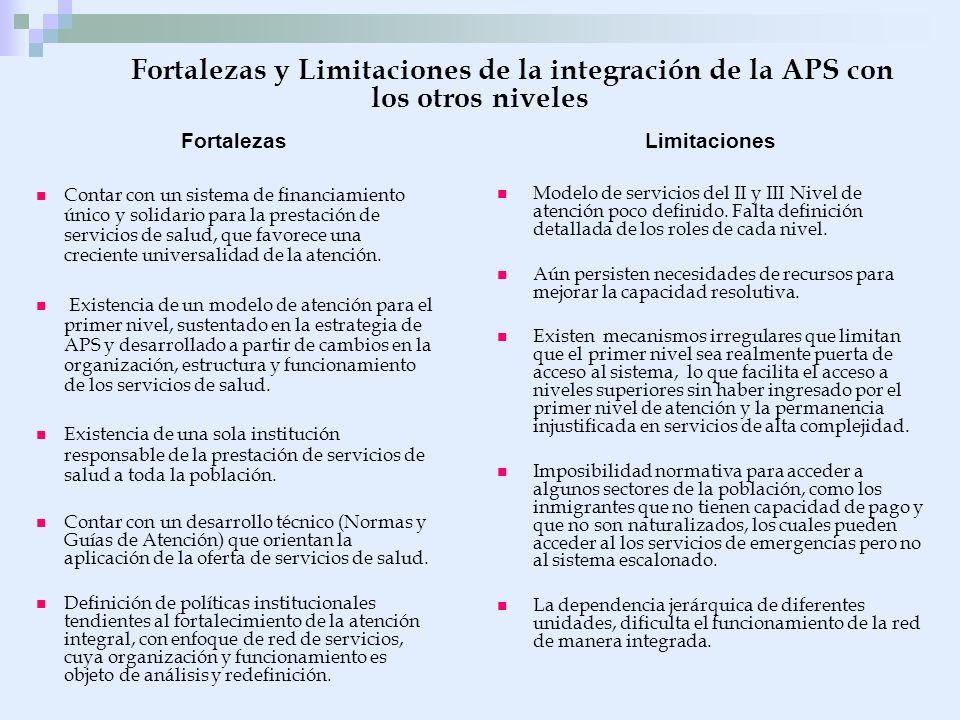 Fortalezas y Limitaciones de la integración de la APS con los otros niveles Fortalezas Contar con un sistema de financiamiento único y solidario para