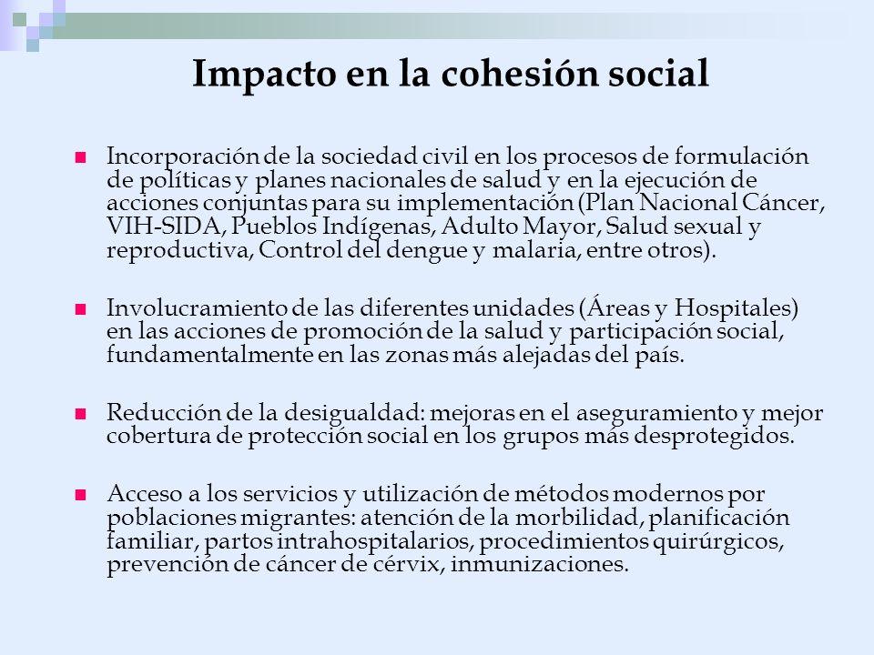 Impacto en la cohesión social Incorporación de la sociedad civil en los procesos de formulación de políticas y planes nacionales de salud y en la ejec