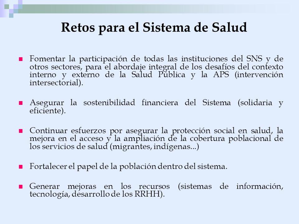 Retos para el Sistema de Salud Fomentar la participación de todas las instituciones del SNS y de otros sectores, para el abordaje integral de los desa