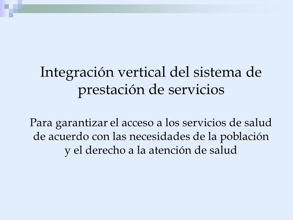 Integración vertical del sistema de prestación de servicios Para garantizar el acceso a los servicios de salud de acuerdo con las necesidades de la po