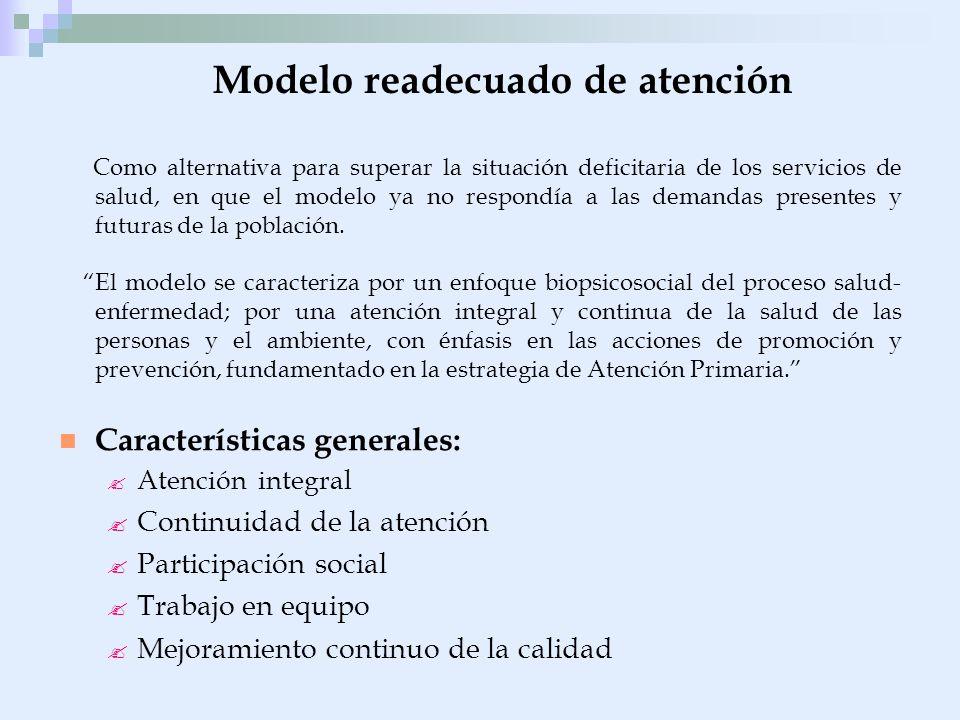 Modelo readecuado de atención Como alternativa para superar la situación deficitaria de los servicios de salud, en que el modelo ya no respondía a las