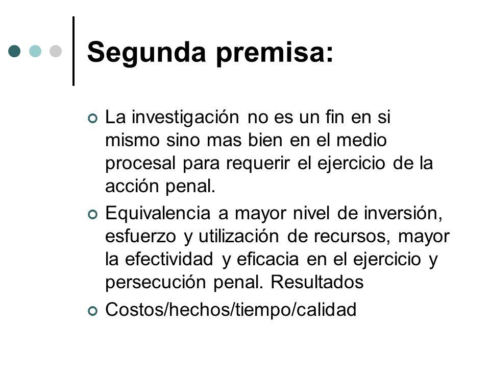 Segunda premisa: La investigación no es un fin en si mismo sino mas bien en el medio procesal para requerir el ejercicio de la acción penal. Equivalen