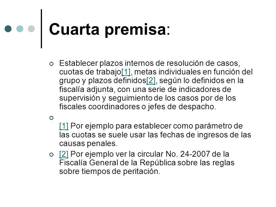 Cuarta premisa: Establecer plazos internos de resolución de casos, cuotas de trabajo[1], metas individuales en función del grupo y plazos definidos[2], según lo definidos en la fiscalía adjunta, con una serie de indicadores de supervisión y seguimiento de los casos por de los fiscales coordinadores o jefes de despacho.[1][2] [1] Por ejemplo para establecer como parámetro de las cuotas se suele usar las fechas de ingresos de las causas penales.