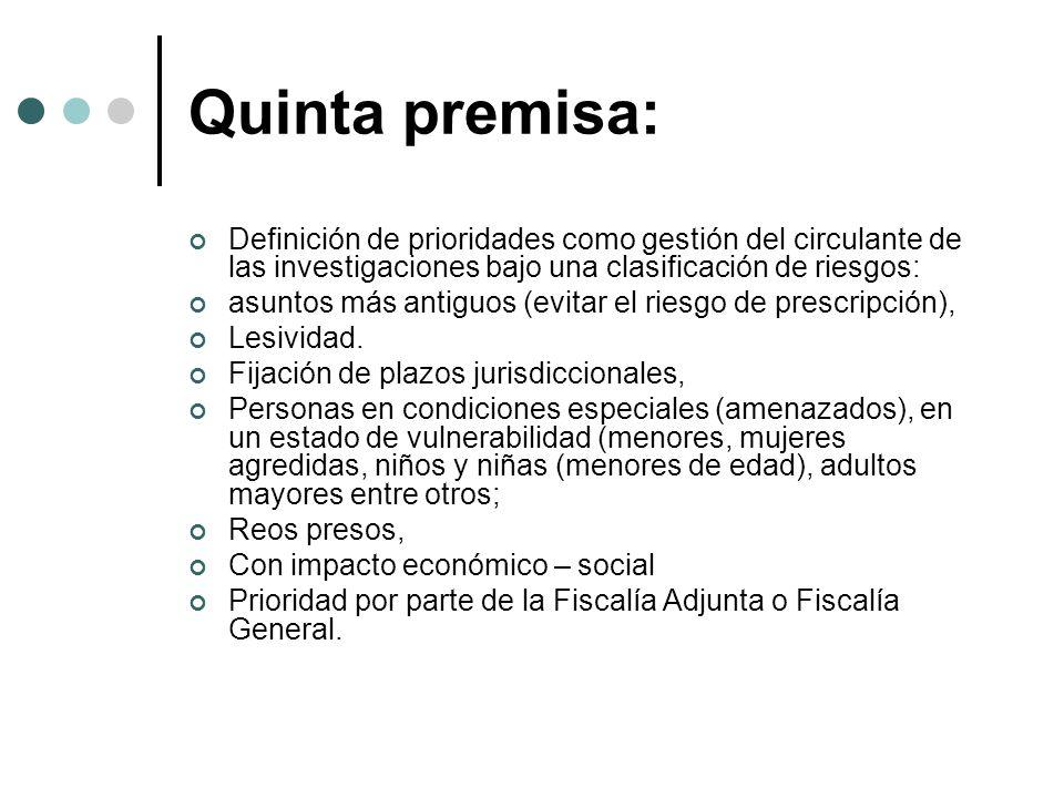 Quinta premisa: Definición de prioridades como gestión del circulante de las investigaciones bajo una clasificación de riesgos: asuntos más antiguos (