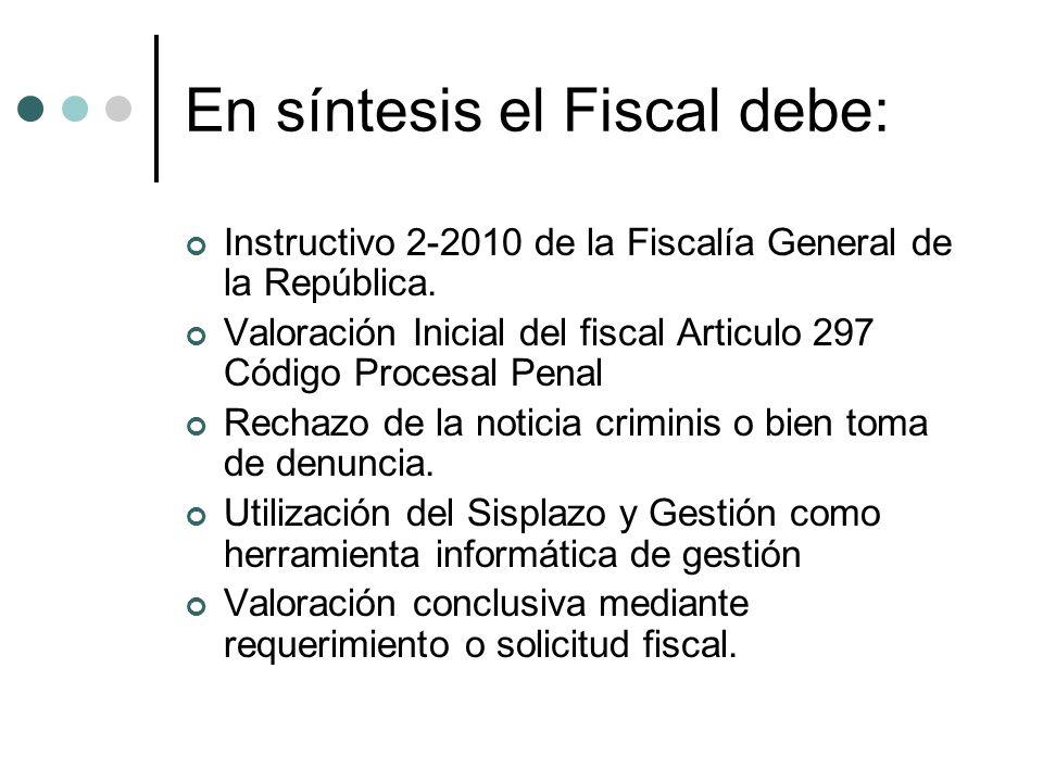 En síntesis el Fiscal debe: Instructivo 2-2010 de la Fiscalía General de la República. Valoración Inicial del fiscal Articulo 297 Código Procesal Pena