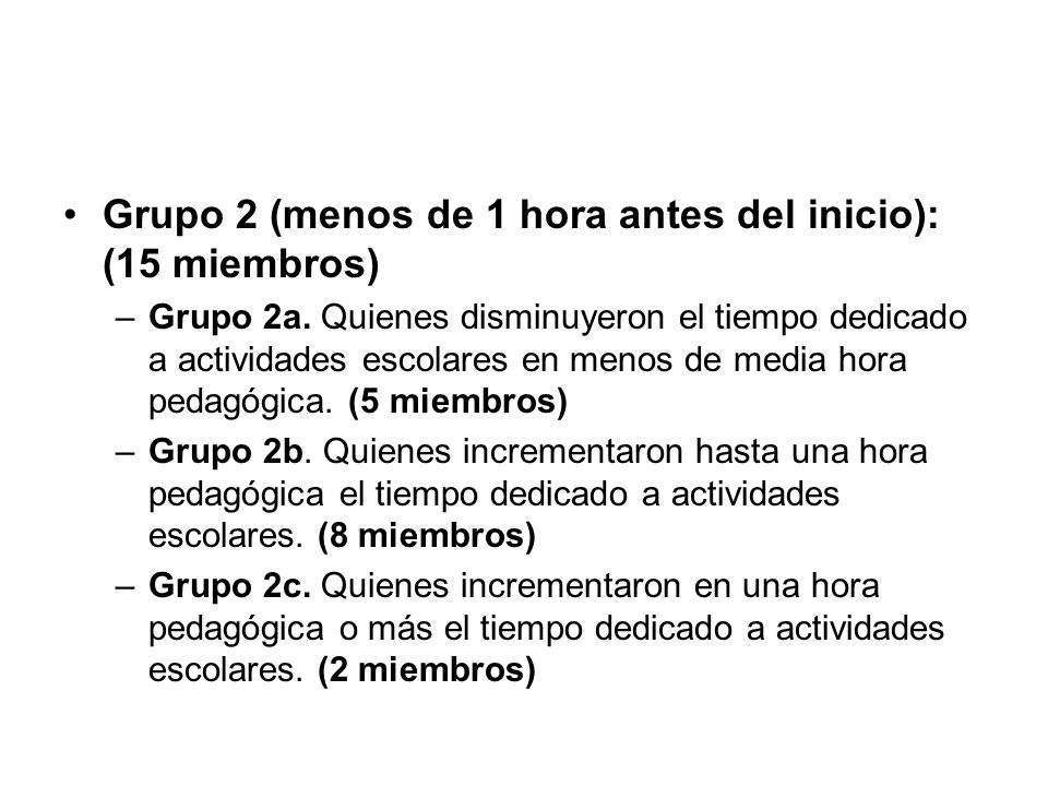 Grupo 2 (menos de 1 hora antes del inicio): (15 miembros) –Grupo 2a. Quienes disminuyeron el tiempo dedicado a actividades escolares en menos de media