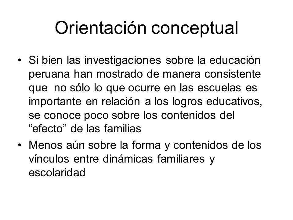 Orientación conceptual Si bien las investigaciones sobre la educación peruana han mostrado de manera consistente que no sólo lo que ocurre en las escuelas es importante en relación a los logros educativos, se conoce poco sobre los contenidos del efecto de las familias Menos aún sobre la forma y contenidos de los vínculos entre dinámicas familiares y escolaridad